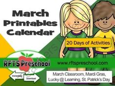 March Activity Calendar + (BONUS) Teacher Files from RFTS-Preschool from RFTS-Preschool on TeachersNotebook.com (341 pages)  - March Activity Calendar + (BONUS) Teacher Files 341 Pages  I have bundled together 20 of my MARCH activities exclusively for (YOU my fans and followers!! Includes BONUS files 'March Teacher Classroom Files'. No Guesswork! It's ready, simple to follow and