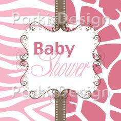 Baby Girl Shower Invitation Pink Animal Print  by ParkisDesign, $14.00
