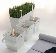 Portable fireplaces stay warm and stylish.