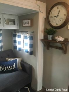 Urban Farmhouse Style in RV's, Trailers and Campers Urban Farmhouse Style – RV Life Military Style Urban Farmhouse, Farmhouse Style, Farmhouse Decor, Travel Trailer Decor, Travel Trailers, Rv Travel, Camper Windows, Camper Curtains, Camper Hacks