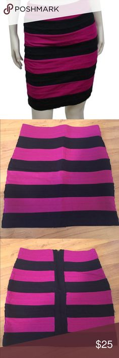 NWOT EXPRESS purple striped bandage skirt Beautiful express bandage skirt. Purple stripe, high waisted. Super sexy! Express best seller! NWOT!! Express Skirts