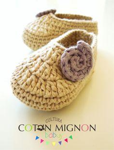 Tutorial - Zapatitos crochet bebe recien nacido cultura coton mignon