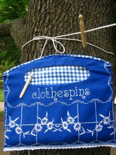 Clothes Pin Bag Made from Vintage Recycled Linens by apronanatomy, from etsy.