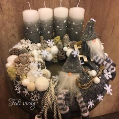 www.tulivirag.hu Christmas Advent Wreath, Xmas Wreaths, Handmade Christmas Decorations, Winter Christmas, Centerpieces, Candle Arrangements, Flower Arrangements, Christmas Ornaments, Christmas Decor