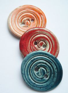 Large Spiral Ceramic Buttons by buttonalia on Etsy, $15.00