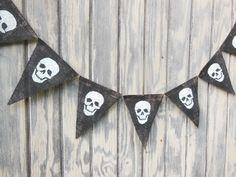 Halloween Banner, Fall Banner, Skull Banner, Happy Halloween Garland, Burlap Banner Bunting, Halloween Decor, Photo Prop, Spooky Banner by IchabodsImagination on Etsy https://www.etsy.com/listing/201480026/halloween-banner-fall-banner-skull