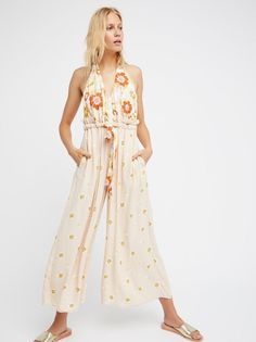 FREE PEOPLE DAISIES & DAYDREAMS ROMPER JUMPSUIT IN NATURAL FLORAL sz XS NWOT #FreePeople #Jumpsuit