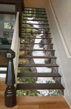 Maligne River Stair 66 Risers Staircase Stairway Stairs Risers Stickers Mural Photo Mural Vinyl Decal Wallpaper Removable - coole Wohnideen - Pictures on Wall ideas Decoration Photo, Stair Risers, Stair Steps, Stair Railing, Beautiful Waterfalls, Interior Exterior, Interior Stairs, Stairways, Home Projects
