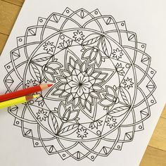 mandala strength hand drawn adult coloring page print
