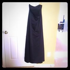 A-line strapless black long David's Bridal dress. Beautiful satin black dress with sweetheart neckline. Worn once as bridesmaid for wedding. Great condition and ready to wear again! David's Bridal Dresses Strapless