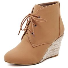 Brown Suedette Lace Up Wedge Ankle Boots ($61) ❤ liked on Polyvore featuring shoes, boots, ankle booties, wedges, lace up wedge ankle booties, brown lace up booties, wedge bootie, brown boots and faux suede lace-up booties