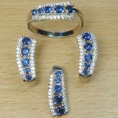 Massjewelry - Brilliant Cut Micro Setting Blue Sapphire & White CZ 925 Sterling Silver Jewelry Set