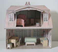 CASITA DE PAPEL: Casita con mobiliario antigua