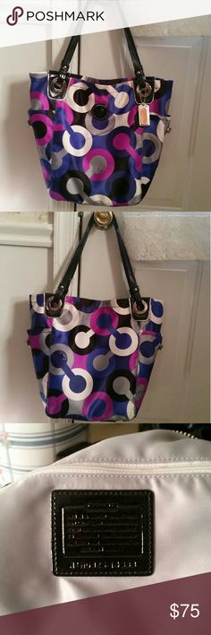 """Coach Tote Coach Multicolor Op Art Alex Tote #14388. Hard to find, great, fun bag!! 2 side pockets on the outside with turnlock closure, zip top closure, inside multifunction pockets, inside back wall zip pocket. Grey hangtag included. Approx Measurements : 14"""" x 12"""" x 5"""". Strap drop 9"""".  Note: There is a spot on the outside top right of the purse See pic #4 where I'm pointing to the spot. PRICE IS FIRM!! PLEASE NO LOWBALL OFFERS. Thank you! Coach Bags Totes"""