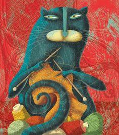 Alberto Montt - Cat Knitting con oficio, cats, gato, cat art, knitti kitti, knitting, albertomontt, cat knit, alberto montt
