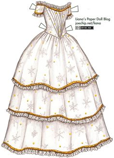 Coloring Pages Snowflake Patterns | 1843 Christmas Evening Gown in White and Gold with Snowflake Pattern