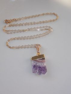 Raw Amethyst Necklace on Gold Filled Chain: by MalieCreations