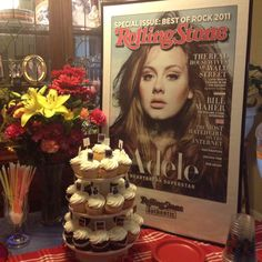 Great Centerpiece for a teenage girls birthday party.  Just a poster in a frame.