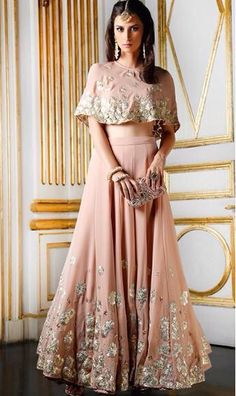 two-piece faux lehenga cape dress