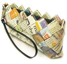 BOLSA: Trançado de jornais/revistas.  PURSE of magazines + newspaper mesh