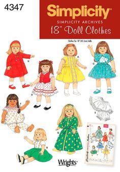 """18"""" doll Clothes - simplicité 4347 - réémis archivées de patron de couture"""