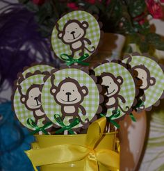 Monkey / Monkeys Safari, Jungle, Zoo Themed CupCake Toppers (Set of 12)