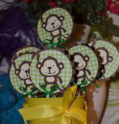 Monkey / Monkeys Safari, Jungle, Zoo Themed CupCake Toppers (Set of 12)