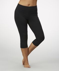 Loving this Black Sanded Dry-Wik Capri Leggings - Plus on #zulily! #zulilyfinds