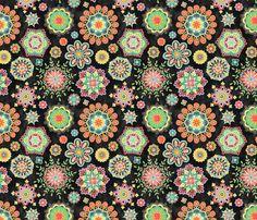 Folky Flora-black fabric by groovity on Spoonflower - custom fabric