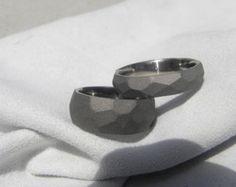 SET de anillo titanium, bandas de Perfil de suelo, acabado con chorro de arena, vendas de boda