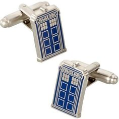 Doctor Who Tardis Metal Cufflinks by Underground Toys @ niftywarehouse.com #NiftyWarehouse #DoctorWho #DrWho #Whovians #SciFi #ScienceFiction #BBC #Show #TV