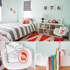 Modern Little Boy's Room - aqua, gray, and orange.   Love the colors!!