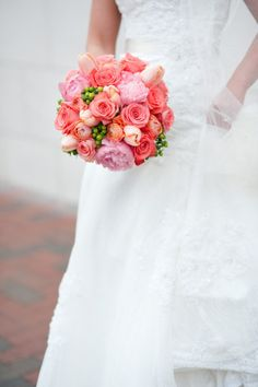 coral bouquet add some yellow and perfection!