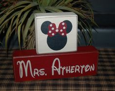 Minnie Mouse or Mickey PERSONALIZED First or Last Name TEACHER Wood Sign Shelf Blocks Primitive Country. $23.95, via Etsy. End of the year Teacher Gift for Emma's Teacher who LOVES Minnie Mouse!