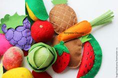 Купить Фрукты и овощи из фетра (развивашка для ребенка) - разноцветный, развивающая игрушка, развивайка, развивающие игры