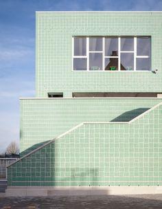 Glazed mint-green bricks  ⎮ Areal Architecten