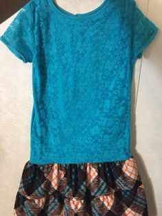 Ready to ship Girl's clothing Girl's dress by AnchorofHopeRanch Plaid Skirts, Blue Lace, Blue Orange, Girl Outfits, Girls Dresses, Short Sleeve Dresses, Ship, Clothing, Stuff To Buy