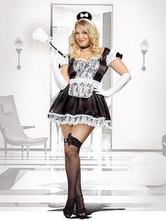busty brunette in maid uniform
