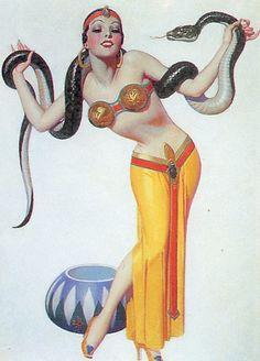 50 illustrations de pin-ups Art Deco par Enoch Bolles - Dessein de dessin Bd Art, Snake Drawing, Estilo Pin Up, Art Deco, Art Nouveau, Photo Vintage, Tribal Belly Dance, Tribal Fusion, Dance Photos