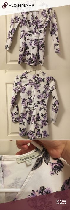 Long sleeve romper Long sleeve romper in purple floral pattern from Charlotte Russe, in excellent condition  Pacsun Brandy Melville zara urban outfitters unif obey free people forever21 gap guess levis denim vintage nike adidas obey supreme Victoria's secret lululemon tobi sabo skirt Charlotte Russe Dresses Mini