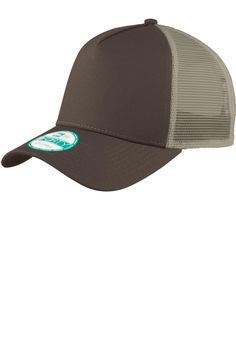 New Era Snapback Trucker Cap. NE205 Chocolate/ Khaki