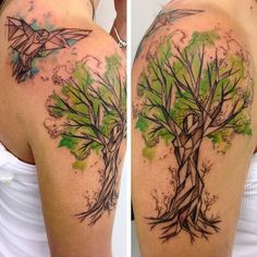 Tree with Origami. This green tree with origami bird makes another amazing tree tattoo for all those who are looking to celebrate life with happiness, pace and love.