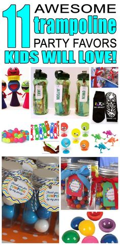 11 trampoline party favor ideas for kids. Fun and easy trampoline birthday party favor ideas for children.