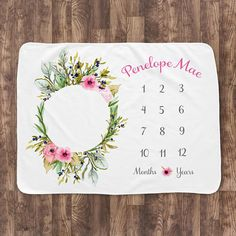 Baby Month Milestone Blanket- Olive Wreath with pink flowers (horizontal) - Girl - Personalized Baby Blanket - Baby Shower Gift Milestone Blankets, Baby Milestone Blanket, Embroidery Hoop Art, Hand Embroidery Patterns, Olive Wreath, Wreath Watercolor, Embroidery For Beginners, Baby Milestones, Ceiling Design