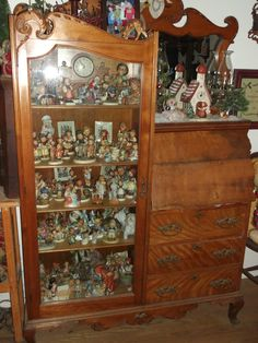 "Our Pinner says:  ""My antique secretary filled with Hummels !"" and I am so jealous!  Love Hummels.  Don't have any, though.  ****sigh****"