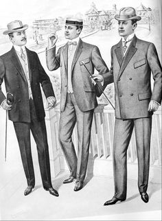 A 1905 fashion plate showing men wearing lounge suits as informal beachwear.
