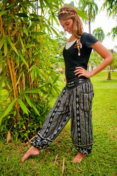 Thai Harem Pants Batik Cotton Black and Grey Mixed by amonchai