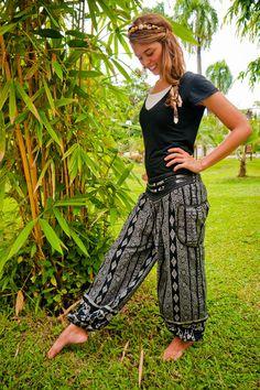 Thai Harem Pants Batik Cotton Black and Grey Mixed by amonchai