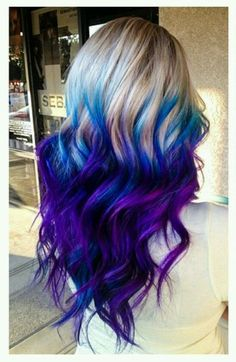 Fabulous Purple and Blue Hair Styles Purple and blue hair hair styles are all the rage, and we wish to experiment with the hair color.Purple and blue hair hair styles are all the rage, and we wish to experiment with the hair color. Ombre Hair Color, Blonde Color, Cool Hair Color, Blue Ombre, Icy Blonde, Blonde And Blue Hair, Galaxy Hair Color, Blonde Ends, Color Blue
