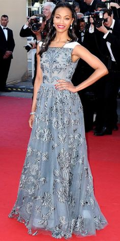 Zoe Saldana at the 2013 Cannes Film Festival on 20 May wearing Valentino to the Blood Ties Premiere